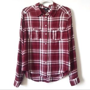 Paige | Burgundy Maroon Plaid Flannel